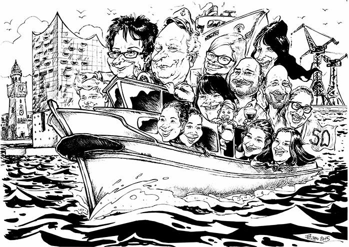 schnellzeichner familie karikatur