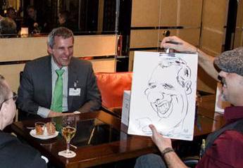 karikaturist, weihnachtsfeier, unterhaltung, schnellzeichner