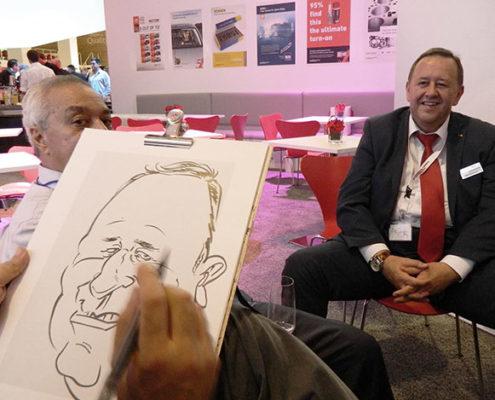 messezeichner und karikaturist für messe, schnellzeichner in nürnberg, karlsruhe, stuttgart