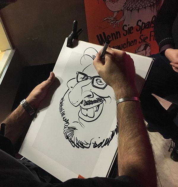 schnellzeichner und karikaturist auf messe, event, hochzeit, karikatur vom foto bestellen und zeichnen lassen