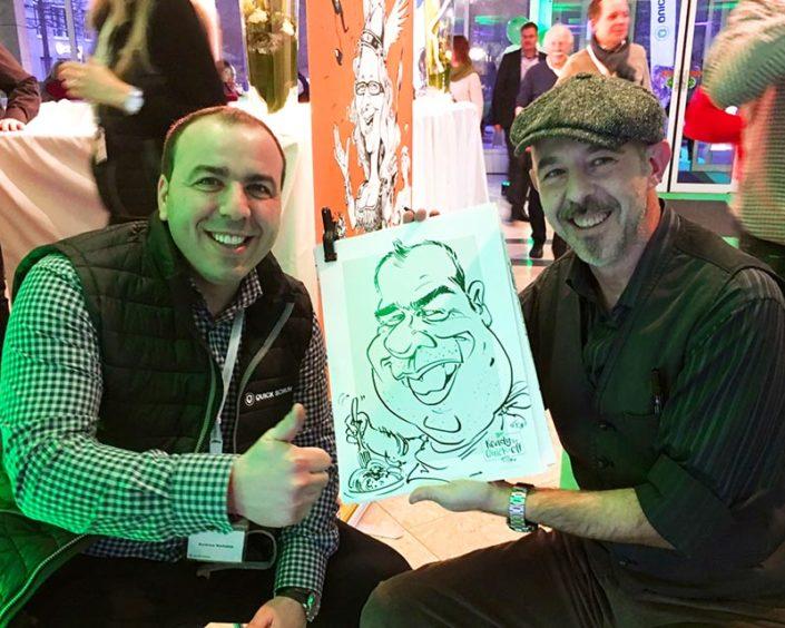 karikaturen zeichnen mit schnellzeichner und karikaturist für event und messe hochzeit, und messe