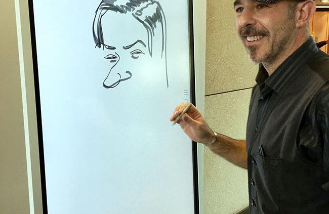 karikatur zeichnen, schnellzeichner und karikaturist show auf samsung-event