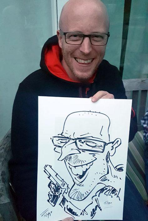 Schnellzeichner und Karikaturist Filippo für Event und Messe, in Karlsruhe, Heidelberg, Stuttgart und Deutschlandweit.